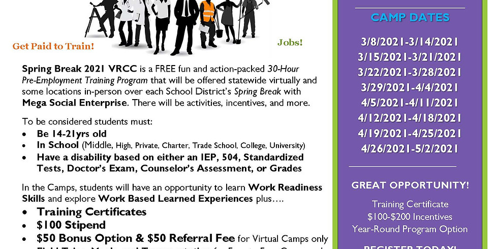 Virtual Statewide Spring Break 2021 Career Camp 3.8.21-5.2.21