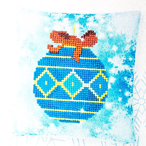 Diamond Dotz Christmas Blue Bauble Mini Pillow