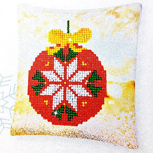 Decorative Christmas Red Bauble Mini Pillow Case