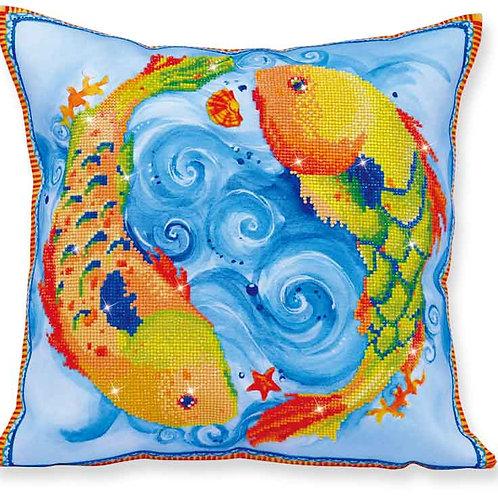 Diamond Dotz Dancing Fish Decorative Pillow