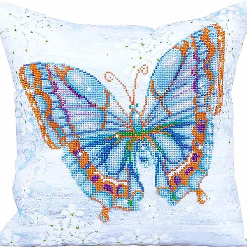 Diamond Dotz Papillon Bleu Diamond Facet Art Decorative Pillow