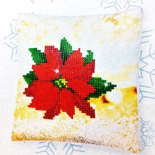 Decorative Christmas Poinsettia Mini Pillow Case