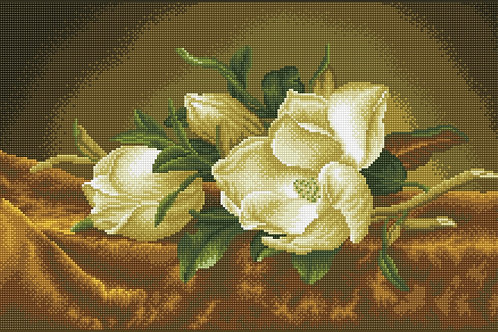 Magnolias On Gold Velvet (après Martin Johnson Heade)