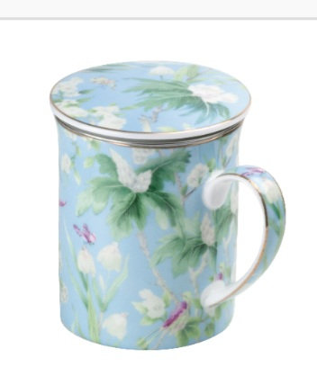 Ciara collection mug with strainer and lid