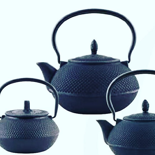 Tetsubin cast iron tea pots black 3 sizes