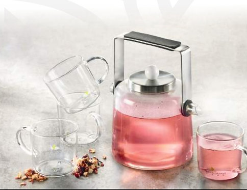 Jenny 900ml glass tea pot and 4 160ml matching cups