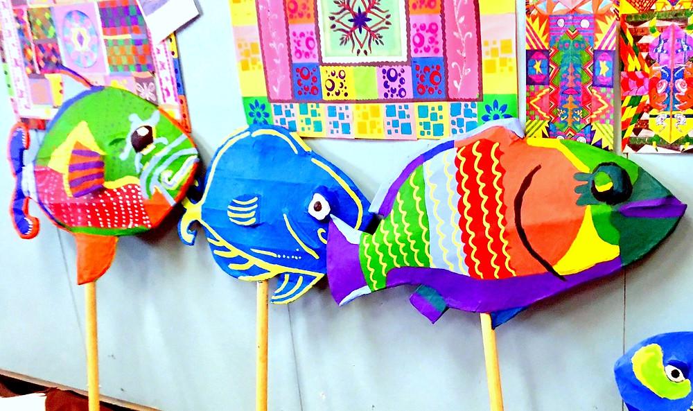 SCEC art students papier-mâché puppets