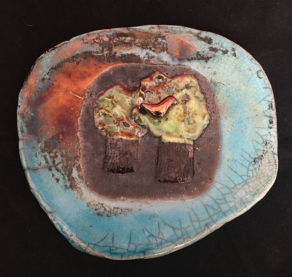 Tree plaque raku