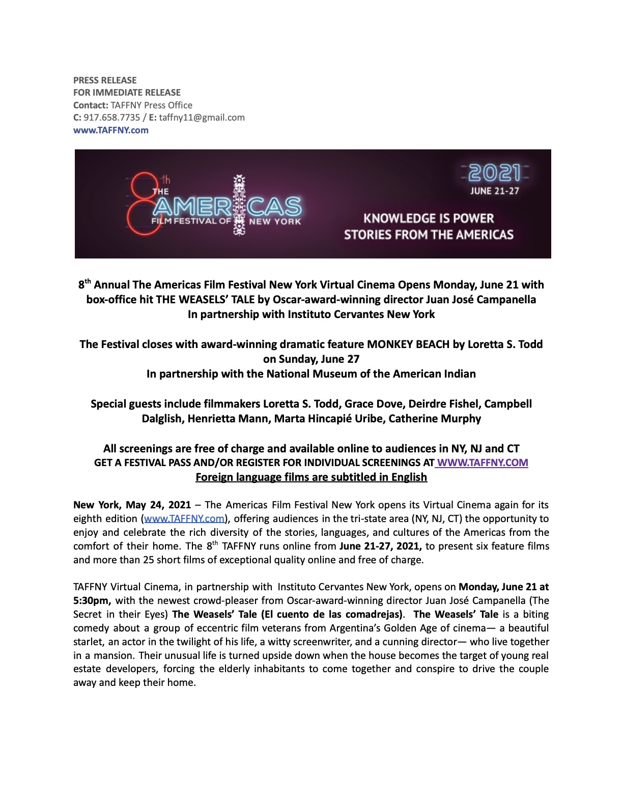 TAFFNY21 Press Release - ENG