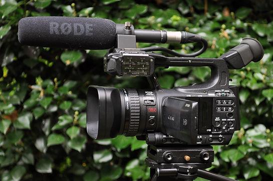 Canon XF100, 2 XLR audio ingangen, Rode richtmic