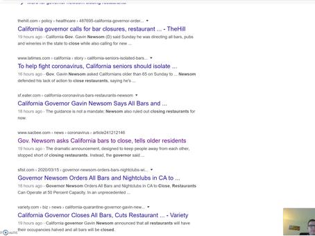 Explaining Governor Newsom's Suggestion on Bar Closures