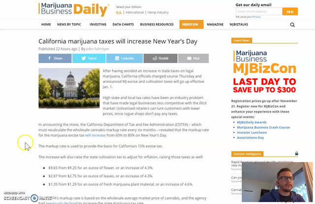 California Continues to Strangle the Cannabis Industry With Taxes