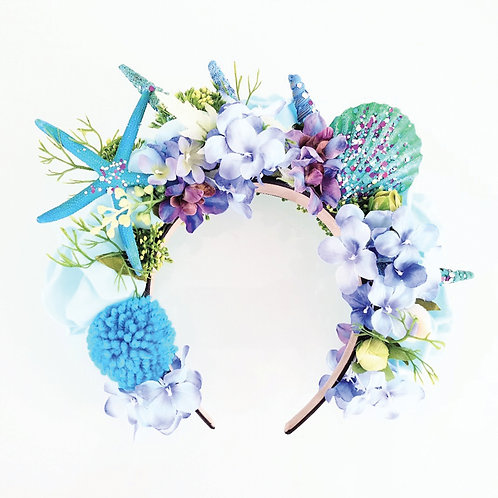 Blue Starfish & Flowers Crown