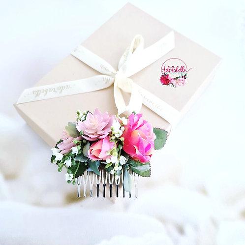 Pink Rose Flower Comb
