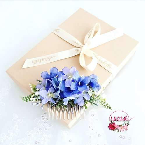 Blue Floral Comb