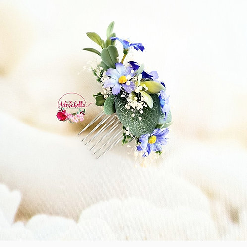 Blue Daisy Floral Comb