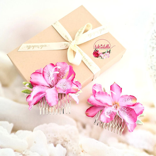 Set of 2 Pink Lily Combs