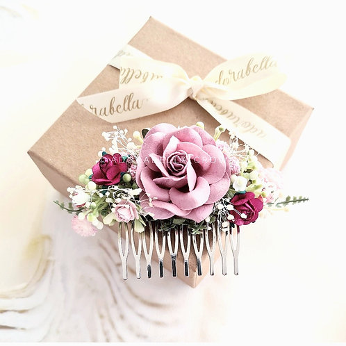 Blush Pink Floral Comb