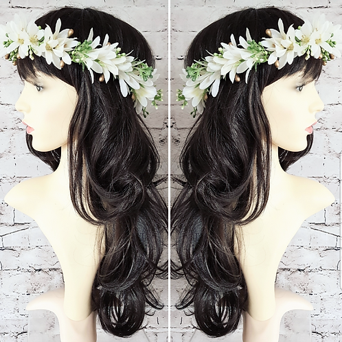 Ivory Flower Crown & Comb Set