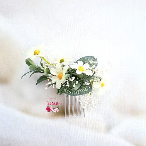 White Daisy Floral Comb - Small