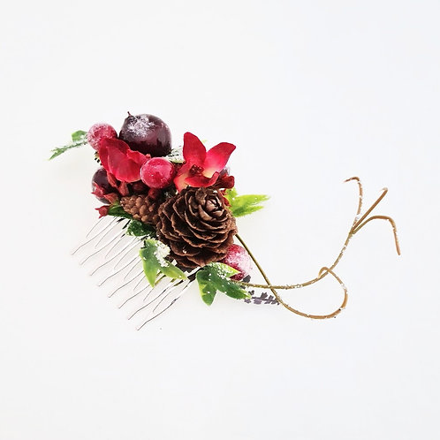 Christmas Floral Comb