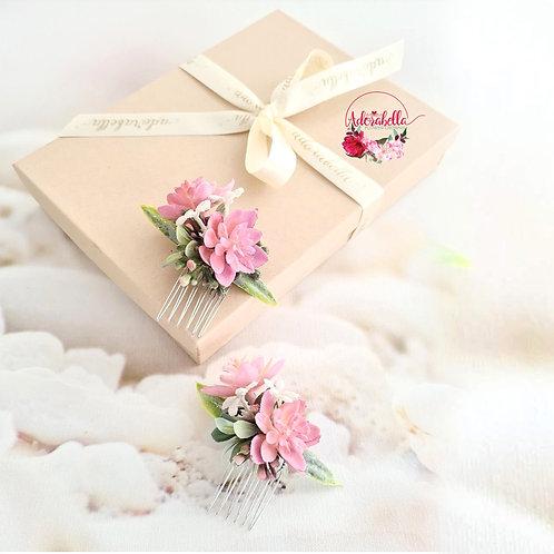 Pink Succulent Flower Comb Set