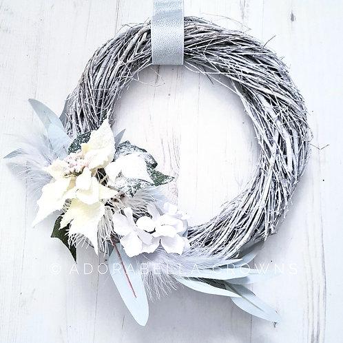 White Poinsettia Wreath