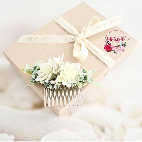 White Succulent Flower Comb