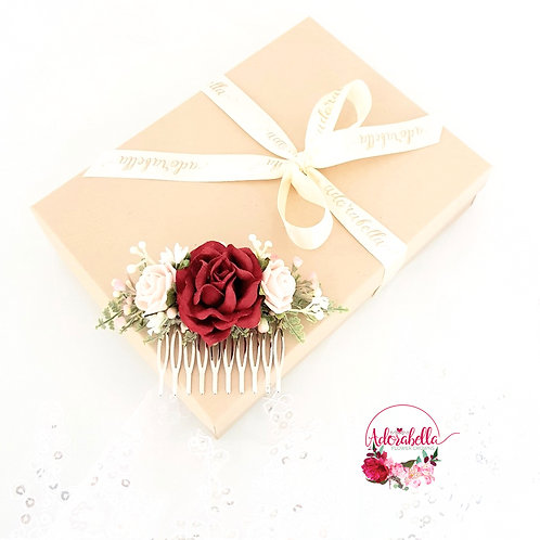 Burgundy Rose Floral Comb