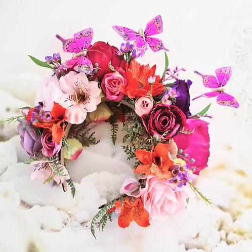 Pink Butterfly Flower Crown