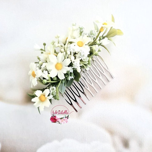 White Daisy Floral Comb