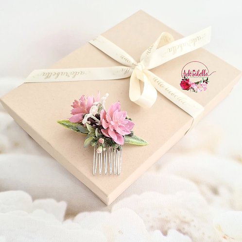 Pink Succulent Flower Comb