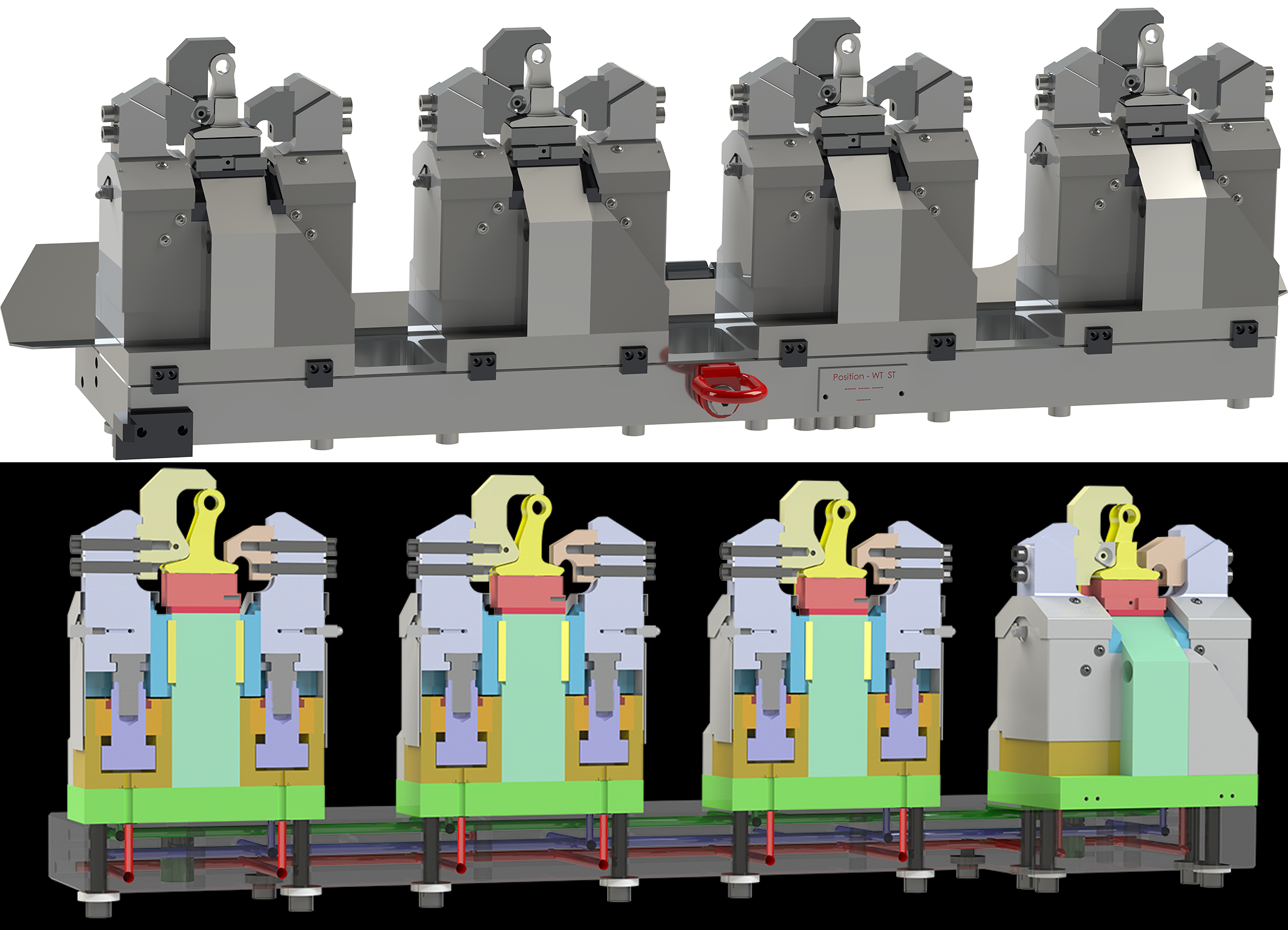 4-fold clamping fixture