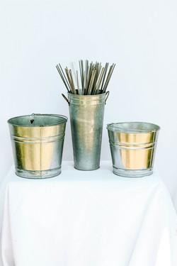 Galvanized buckets with Sparklers