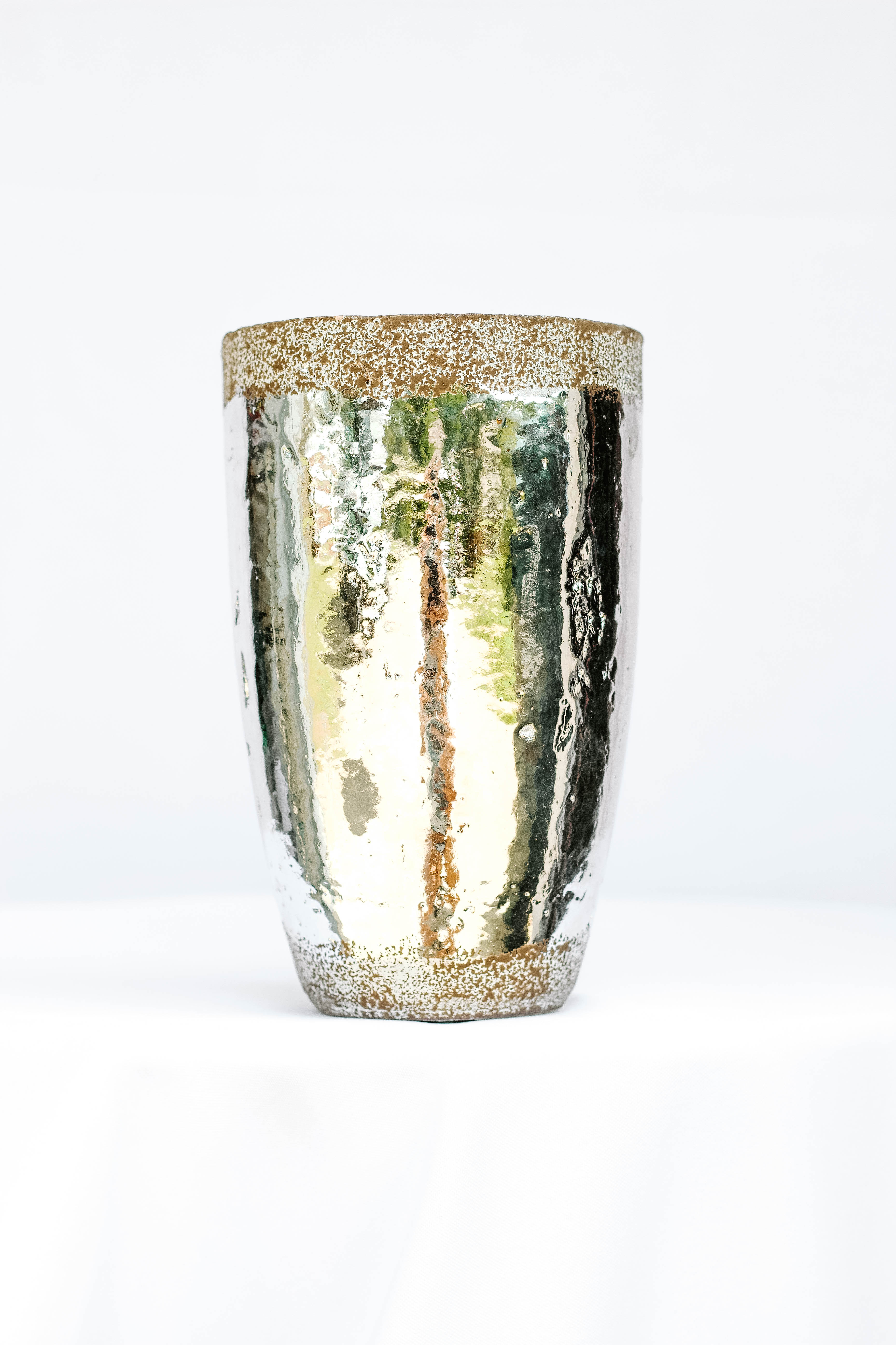 Grainy Brown Silver Vase