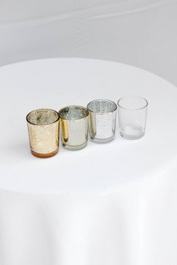 Dark Gold, Light Gold, Silver and Clear Votive