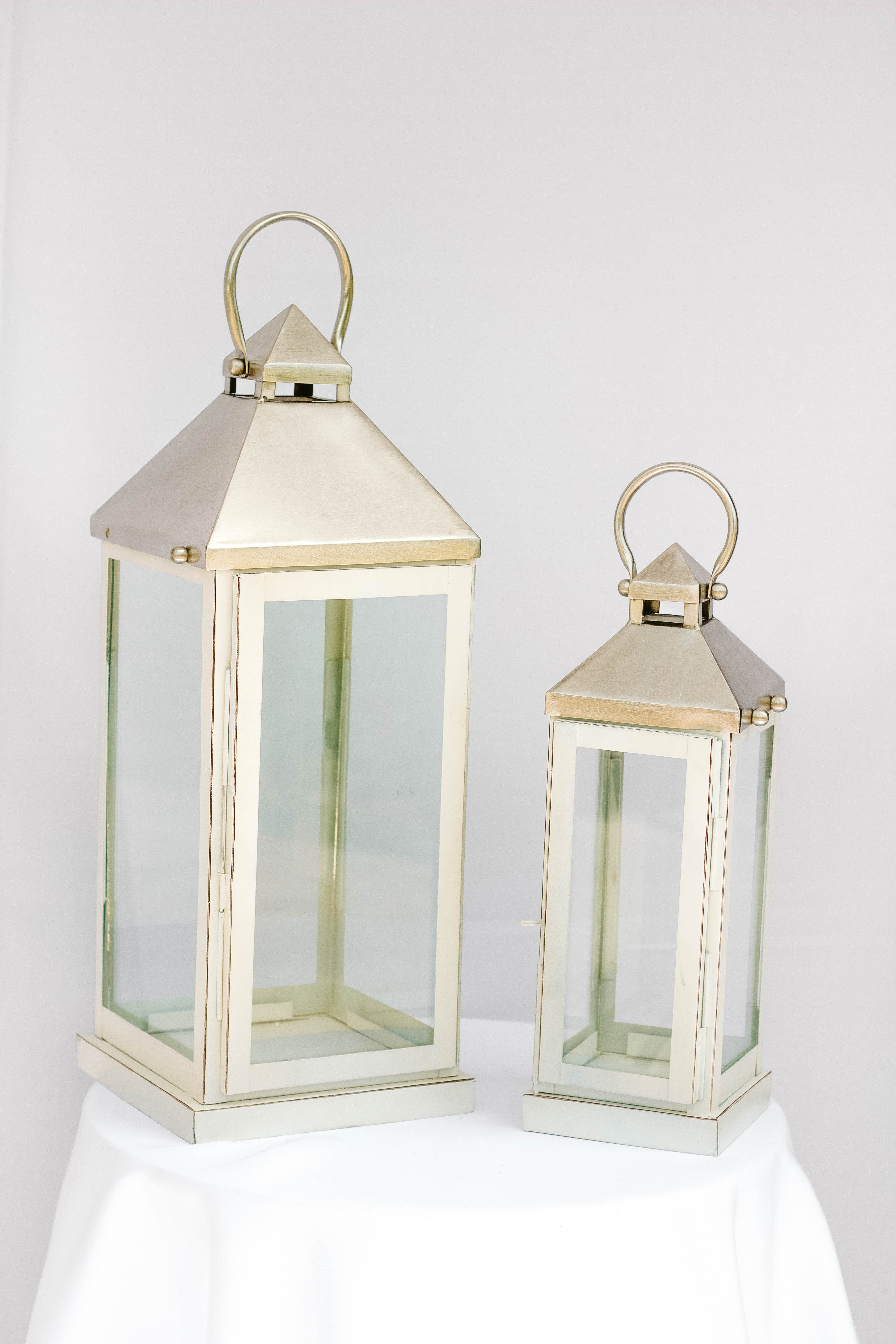 Medium and Small Silver/Ivory Lantern