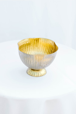 Gold Short Lined Compote
