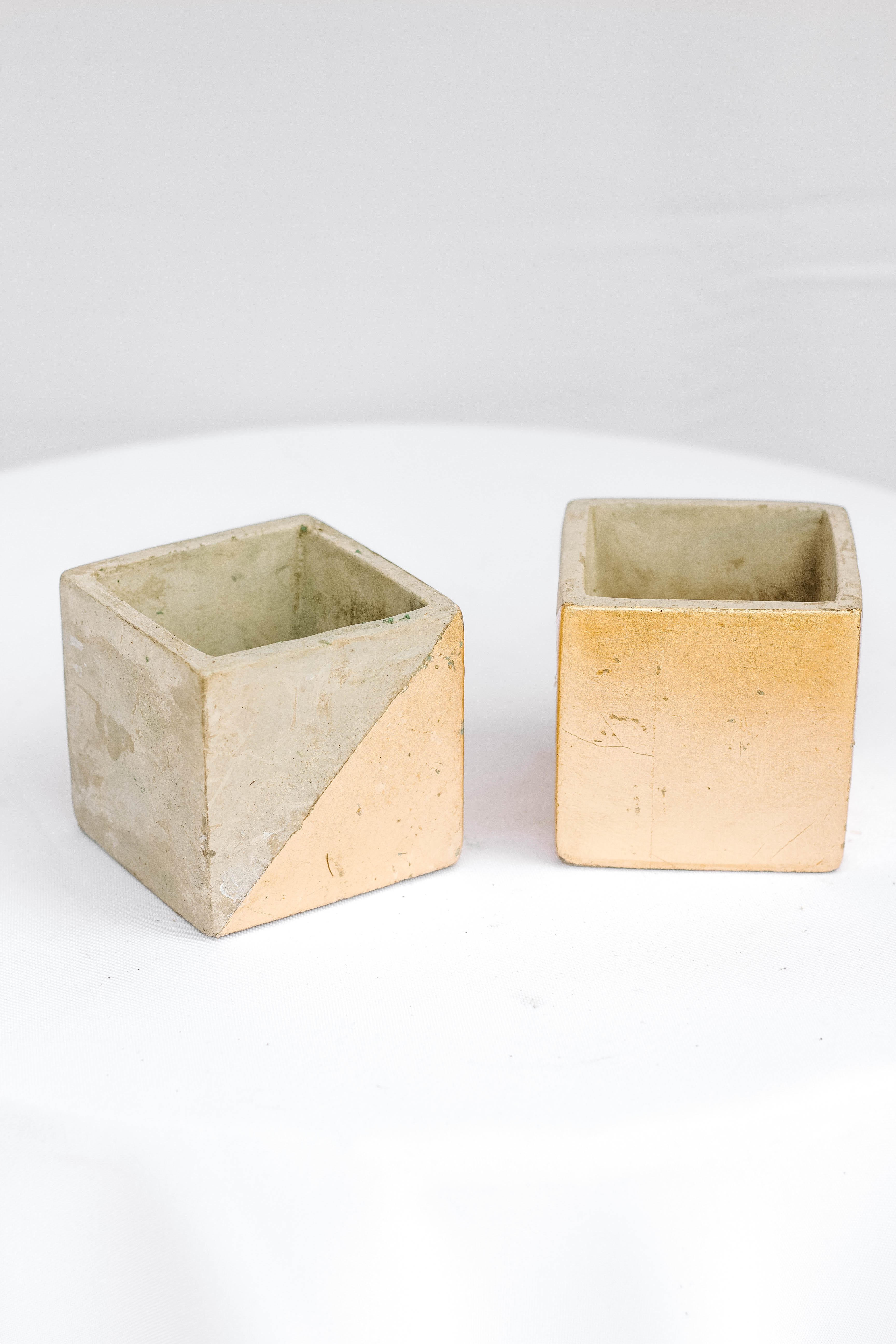Half Gold Cement Block Vase