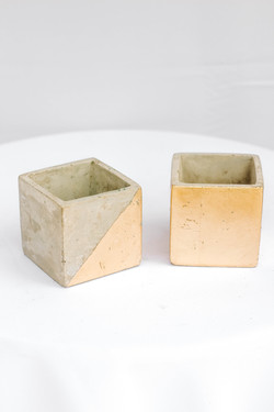 Half Gold Cement Block Vase