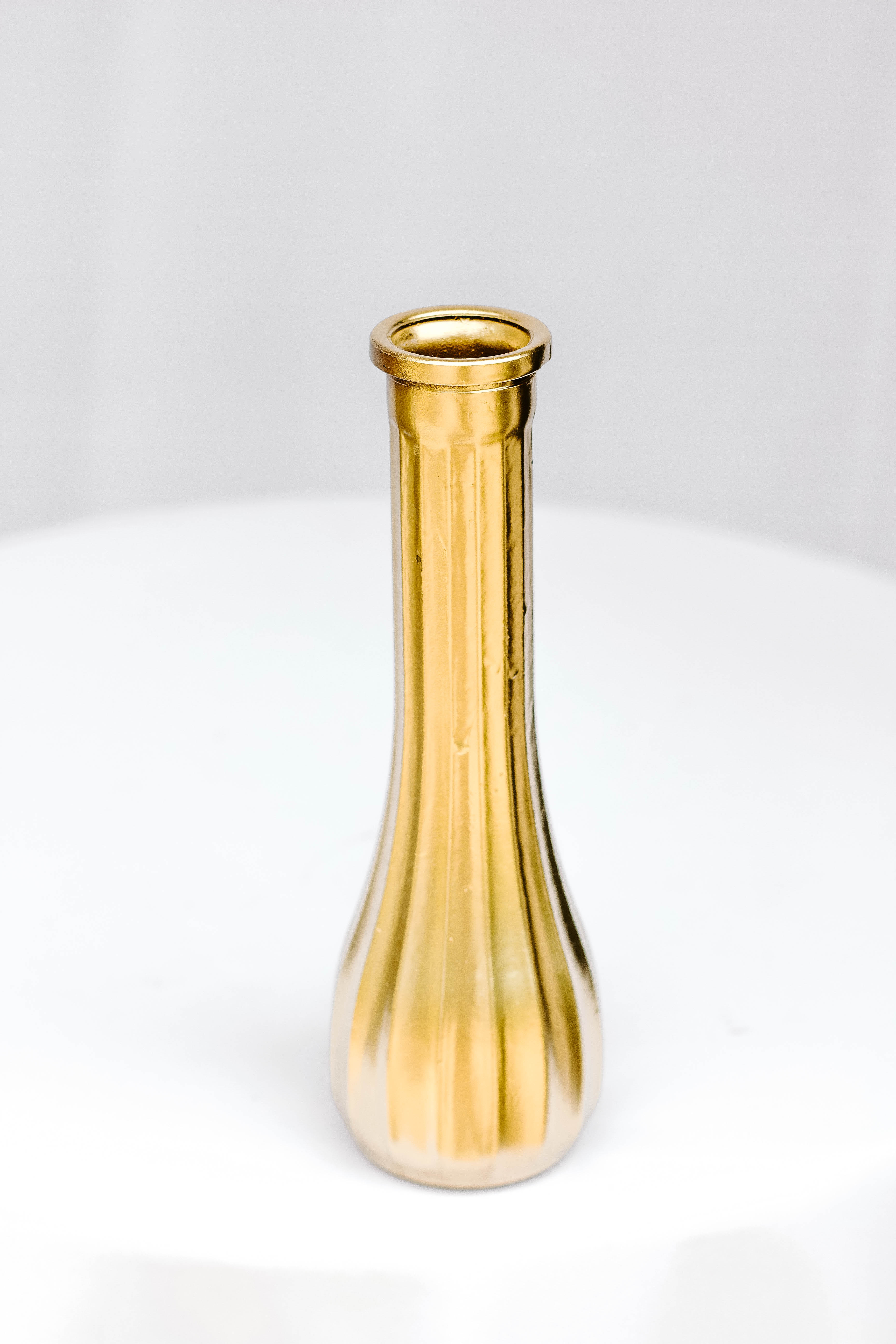 Gold Ribbed Skinny Vase