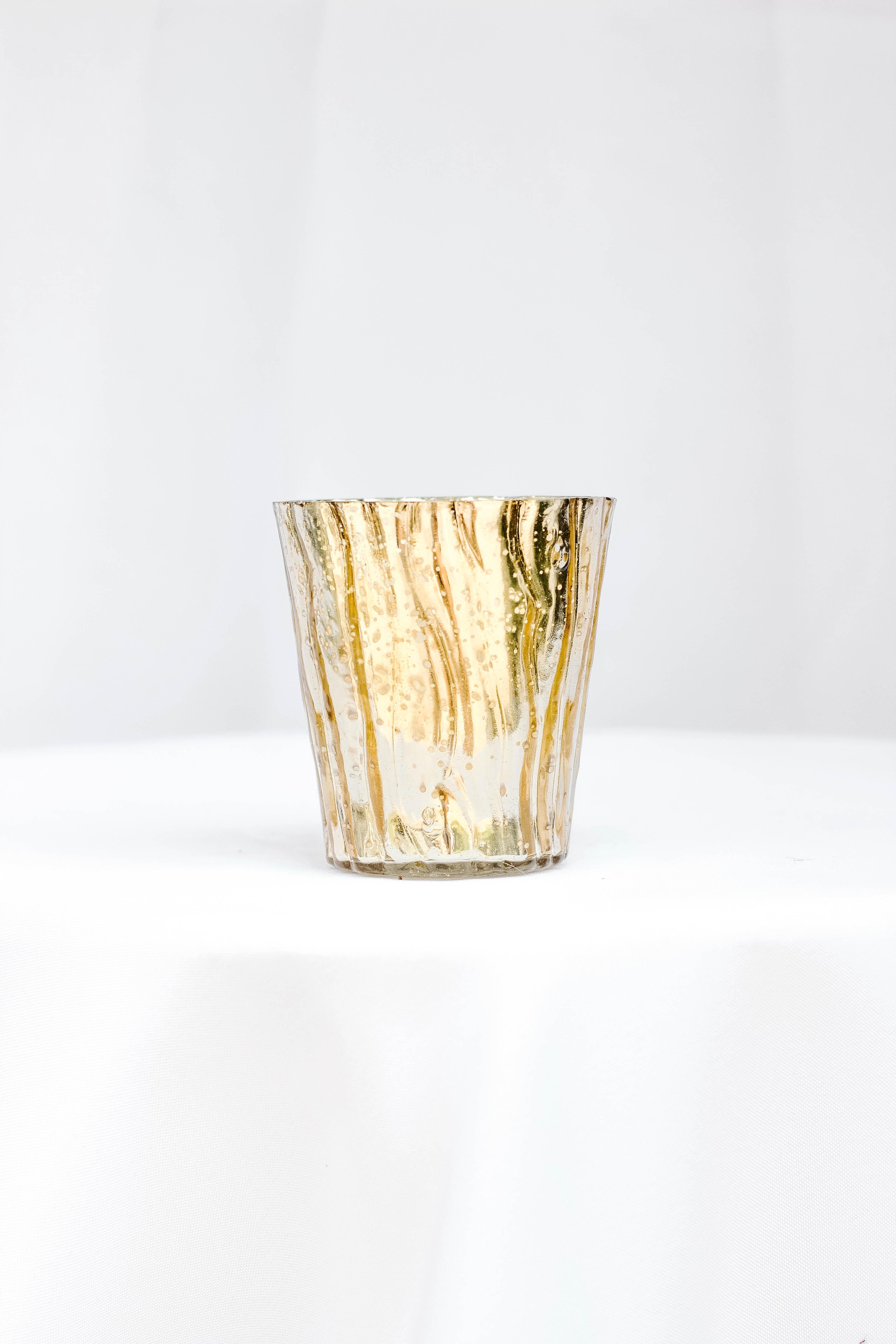 Small Wavy Gold Vase
