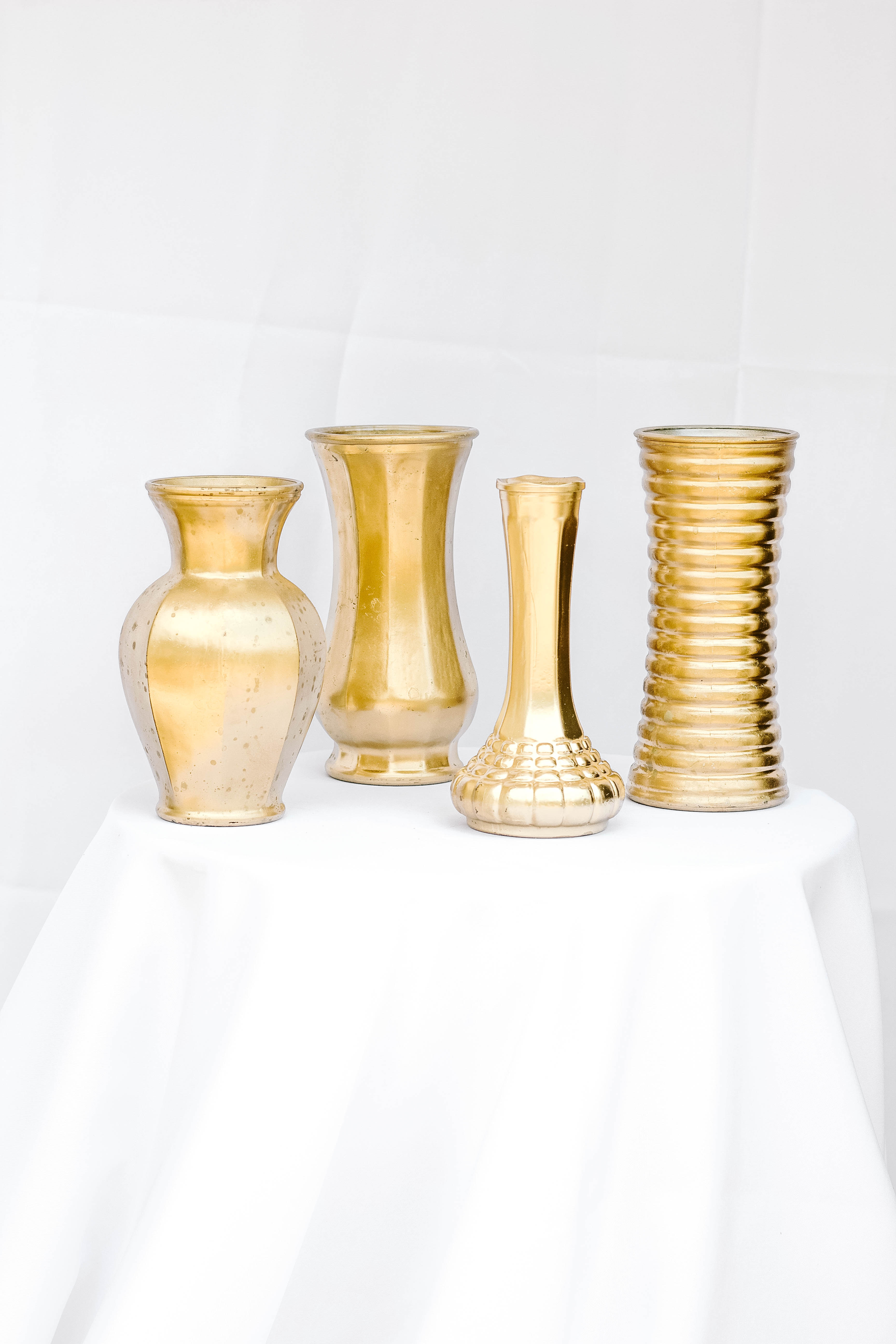 Mixed Wide Gold Vases