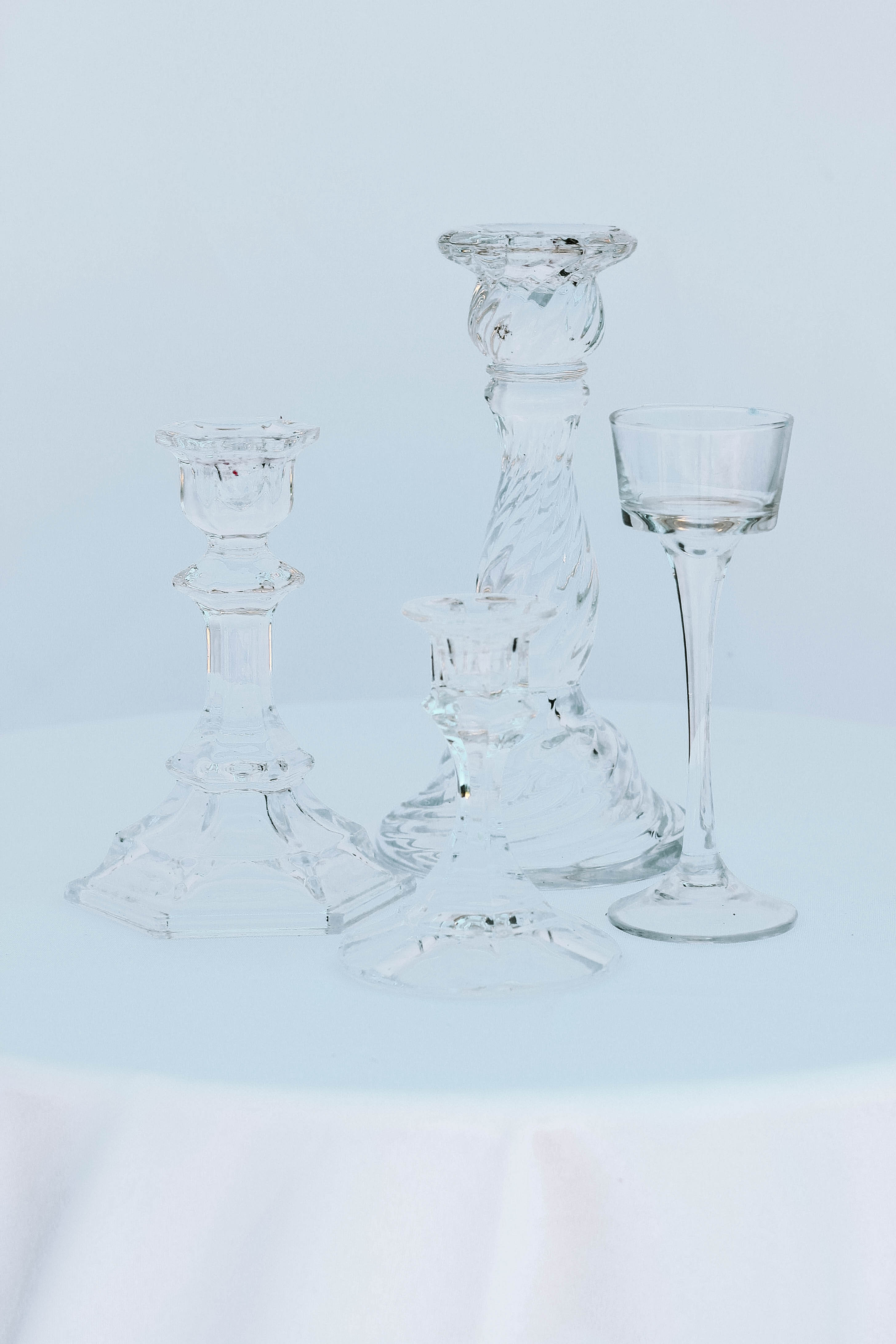 Clear Tapered Candlesticks