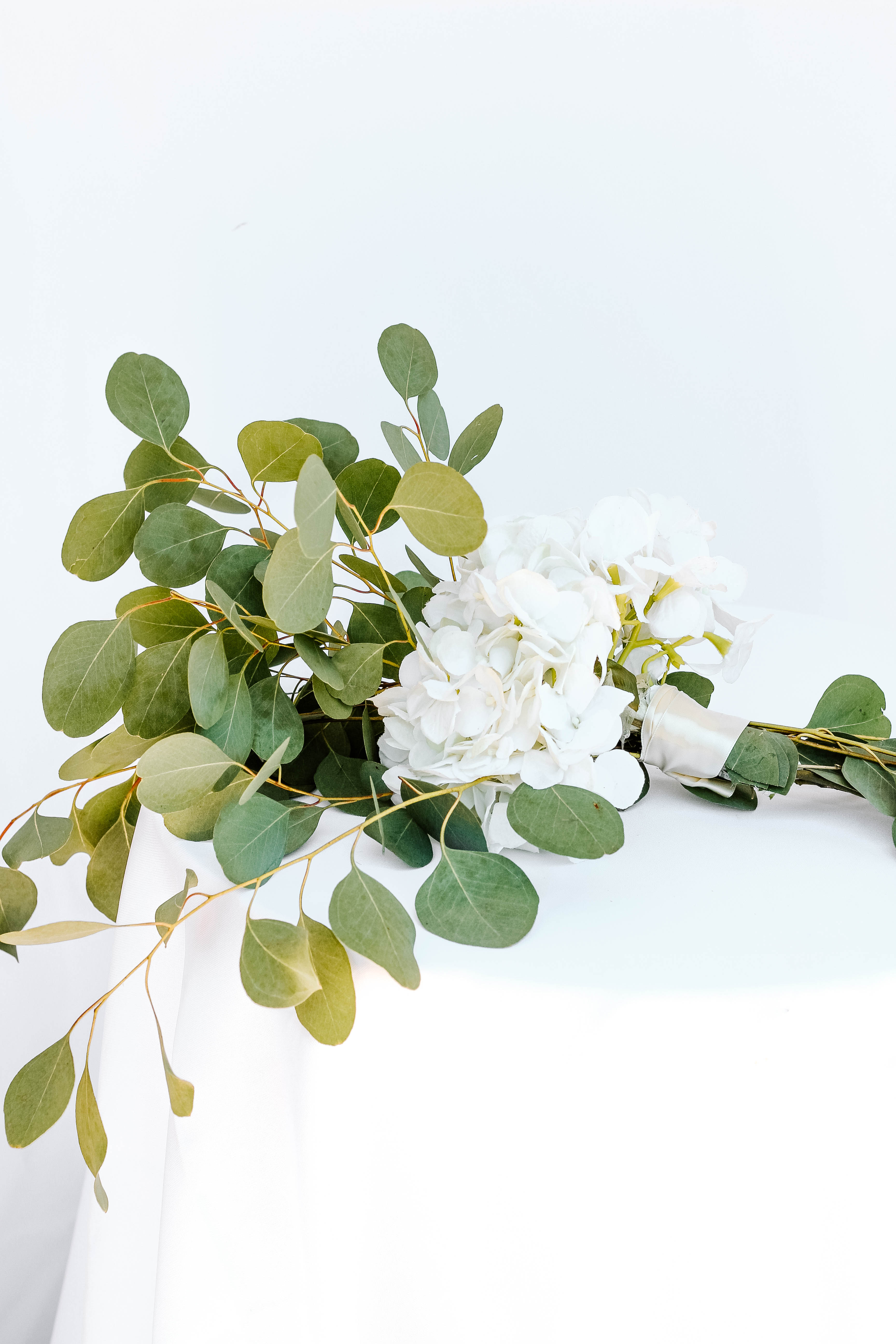 White Hydrangea with Greenery Pew Marker