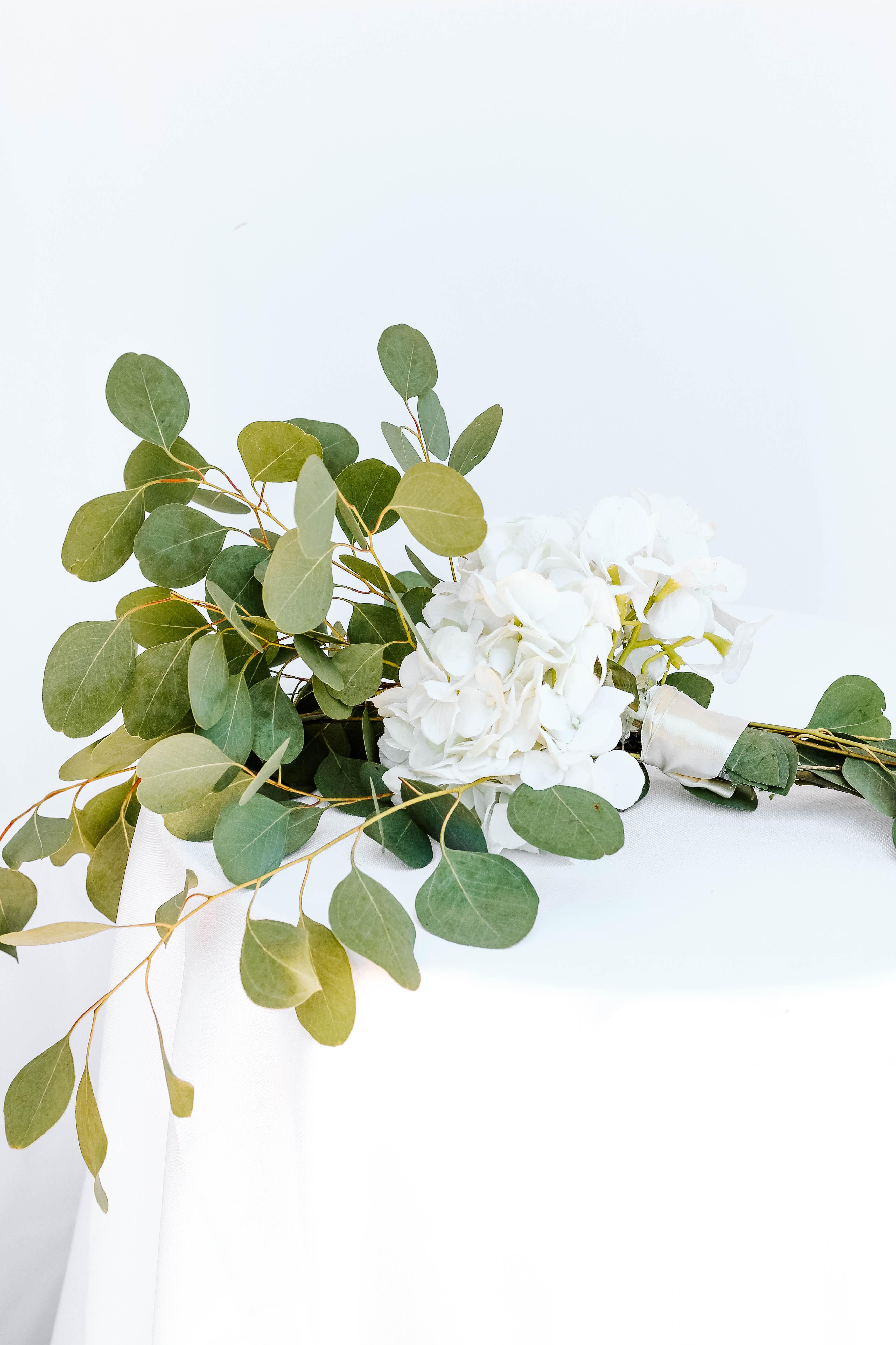 White Hydrangea with Greenery Pew Marker