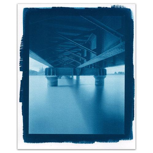Railway bridge pinhole cyanotype #1