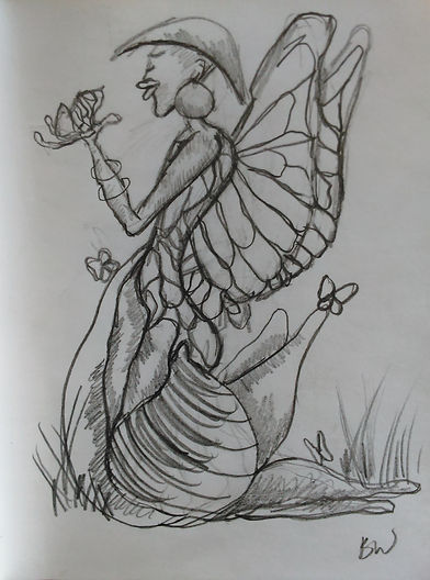 Butterfly woman drawing