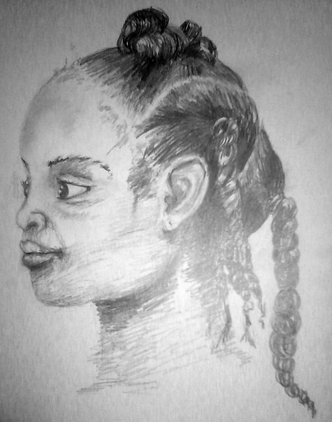 Drawing of Girl Ponytails Study
