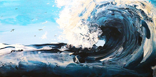 etsy wave fluid painting, rectangle 10x20 big wave acrylic fluid painting silver blue white turquoise birds landscape